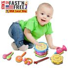 7pcs Kids Baby Roll Drum Musical Instruments Band Kit Children Toy Gift Set Toy