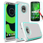 For Motorola Moto G6 Hybrid Rubber Hard Armor Phone Case+Glass Screen Protector