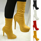 Womens High Rise Stretchy Calf Platform Shoes Ladies Pull On Ankle Sock Boots
