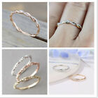 Size 5-10 Womens Rose Gold Inlaid Crystal Twist Rings Wedding Party Jewelry Gift