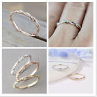 Size 5-10 Womens Rose Gold Inlaid Crystal Twist Rings Wedding Party Jewelry Gift image