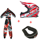 New Wulfsport Kids Motocross Black Helmet Red Camo Suit Neck Roll Bundle Youth