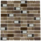 White Brown Glass Stainless Steel Cut Mosaic Wall Tile
