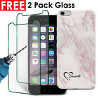 Marble Personalised Hard Case Cover & 2 Pack Glass For Various Mobiles - 100