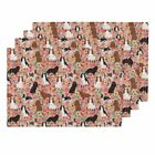 Cloth Placemats Dog Cavalier King Charles S Florals Peach Flowers Set of 4