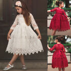 XMAS Kids Baby Girls Lace Flower Princess Tulle Party Pageant Dresses Size 3 8Y