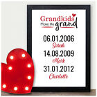 PERSONALISED Grandparents Memorable Dates Birthday Gifts for Nan Nanny Grandad