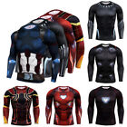 Mens Marvel Superhero Compression Long Sleeve Sports Jersey T-shirt Shirts Tops image