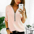Plus Size Women Zipper V-Neck T-Shirt Casual Loose Roll-Up Sleeve Tops Blouse