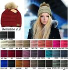 CC Beanie Faux Fur Pom Pom Hat Cap PomPom Adult Kids Genuine