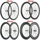 700C Carbon Wheels 38/50/60/88mm Road Bike Cycle Wheelset Basalt Braking surface