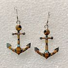 Sterling Silver Inlay Multi-Stone Boat Fishing Anchors with Opal Hook Earrings