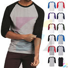 Men's Raglan 3/4 Sleeve Baseball Plain Tee Jersey Heavy Cotton T-Shirt 5700 image