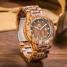 LeeEv Men's Stylish Wooden Watch Quartz Solid Wood Black Sandal Wooden Relogio image