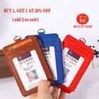 Leather ID Badge Card Holder Lanyard Zipper Card Case Business Organizer Bag