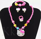 5/3 Pcs  Kids Girls Princess Beads Necklace&bracelet&ring Set Jewelry Gift Tops
