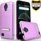For AT&T AXIA QS5509 Case,Dual Layer Brushed Kickstand Cover+Tempered Glass Scre
