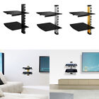 1 2 Floating Shelves DVD Player Brackets Mount Tempered Glass TV Accessories US
