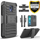 For AT&T Axia Phone Case, Armor Belt Clip Cover+Tempered Glass Screen