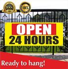OPEN 24 HOURS Banner Vinyl /Mesh Banner Sign Many Sizes Flag Overnight Shop Cafe