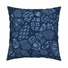 Indigo Color Blue African Art Throw Pillow Cover w Optional Insert by Roostery