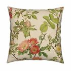 Floral Rose Flower Vintage Throw Pillow Cover w Optional Insert by Roostery