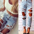 Women's Destroyed Ripped Slim Skinny Denim Pants Boyfriend Style Jeans Trousers