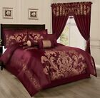 Chezmoi Collection 7pc Jacquard Floral Comforter or Curtain Set, Maroon/Gold image