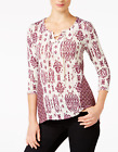 Style & Co Petite Lace-Up Printed Top Dried Plum