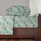 Hunting Dog Stencil Grass Setters 100% Cotton Sateen Sheet Set by Roostery