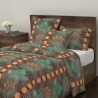 Beer Art Deco Hops And Barley Copper Patina Sateen Duvet Cover by Roostery