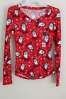 "NEW Junior's No Boundaries Brushed V-Neck Holiday Tee Santa ""Ho Ho Ho"" Red"