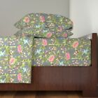 Bamboo Birds Blossoms Cherry Japanese 100% Cotton Sateen Sheet Set by Roostery image
