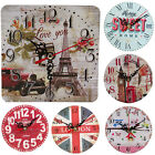 Vintage Decoration Home Kitchen Clock Round Square Silent Wood Wall Clock I