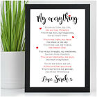 Personalised Anniversary Poem Gift for Couples Him Her Girlfriend Wife Husband