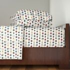 Music 80s Geek Chic Vintage Retro Vinyl Cotton Sateen Sheet Set by Roostery