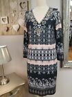 Beautiful printed slip on dress, long sleeves, versitile lovely holiday piece