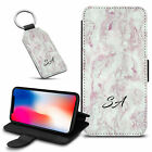 Marble Personalised PU Leather Wallet Case & Keyring For Various Mobiles - 56