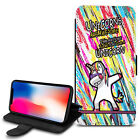 Unicorn Dab Design PU Leather Wallet Case Cover For Various Mobiles - 06
