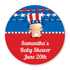 Fourth of July Firecracker Baby - Round Personalized Baby Shower Sticker Labels