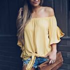 Sexy Women's 3/4 Sleeve Off Shoulder Tops Summer Shirts Loose Blouses T-shirts