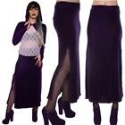 PURPLE VELOUR PENCIL LONG SKIRT SPLIT SIDES STEAM PUNK GOTHIC ALTERNATIVE