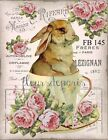 ~ Shabby Chic Vintage Easter Bunny Roses Tea Cup Fabric Block Quilting FB 145 ~