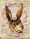 ~ Shabby Chic Quality Easter Bunny Roses Fabric Block Quilting Sewing FB 177 ~