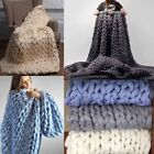 Yarn Soft Blanket Sofa Bed Large Bulky Wool Knit Throw Handmade Crocheted Chunky image
