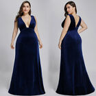 Ever-pretty US Plus Size Velvet Gown Long V-neck Formal Evening Party Dress 7182