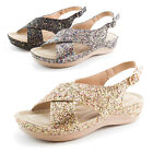 Forever Womens Open Toe Sparkle Glitter Ankle Strap Sandals Sitch 02 Adults