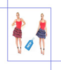 New WOMEN,S LADIES RED/BLUE TARTAN SKIRT FANCY WOMEN Costume image