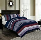 Chezmoi Collection Milton Plaid Checked Stripe Pre-Washed 100% Cotton Quilt Set image