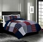 Chezmoi Collection Grizzly Plaid Checked Patchwork Washed 100% Cotton Quilt Set image